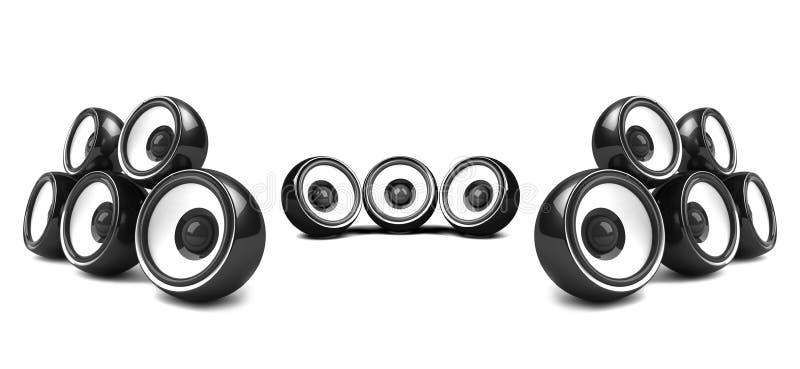 svart stereosystem för hög ström stock illustrationer