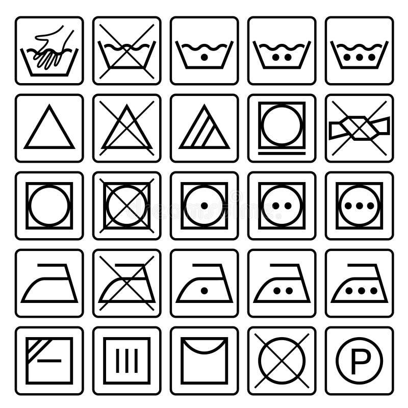 Svart stil Textilomsorgsymboler royaltyfri illustrationer