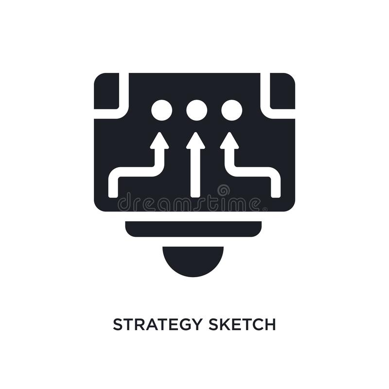 svart strategi skissar den isolerade vektorsymbolen enkel beståndsdelillustration från den stategy starten och begreppsvektorsymb vektor illustrationer