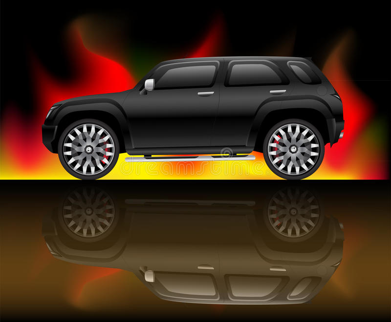 Download Svart SUV-fordon vektor illustrationer. Illustration av örn - 20975755