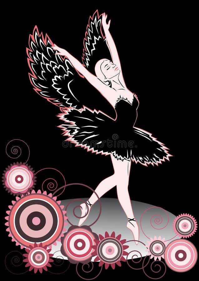 svart swan stock illustrationer