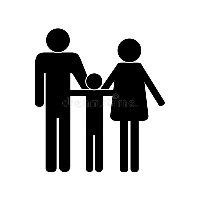 Svart symbol av en vit bakgrundsvektor för familj stock illustrationer