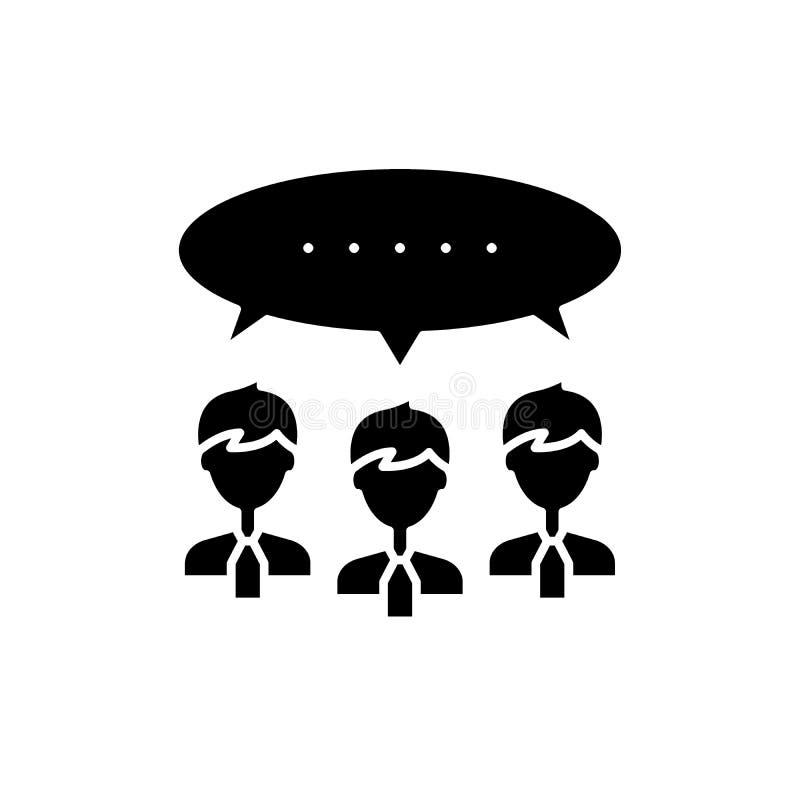 Svart symbol för argumentation, vektortecken på isolerad bakgrund Argumentationbegreppssymbol, illustration stock illustrationer