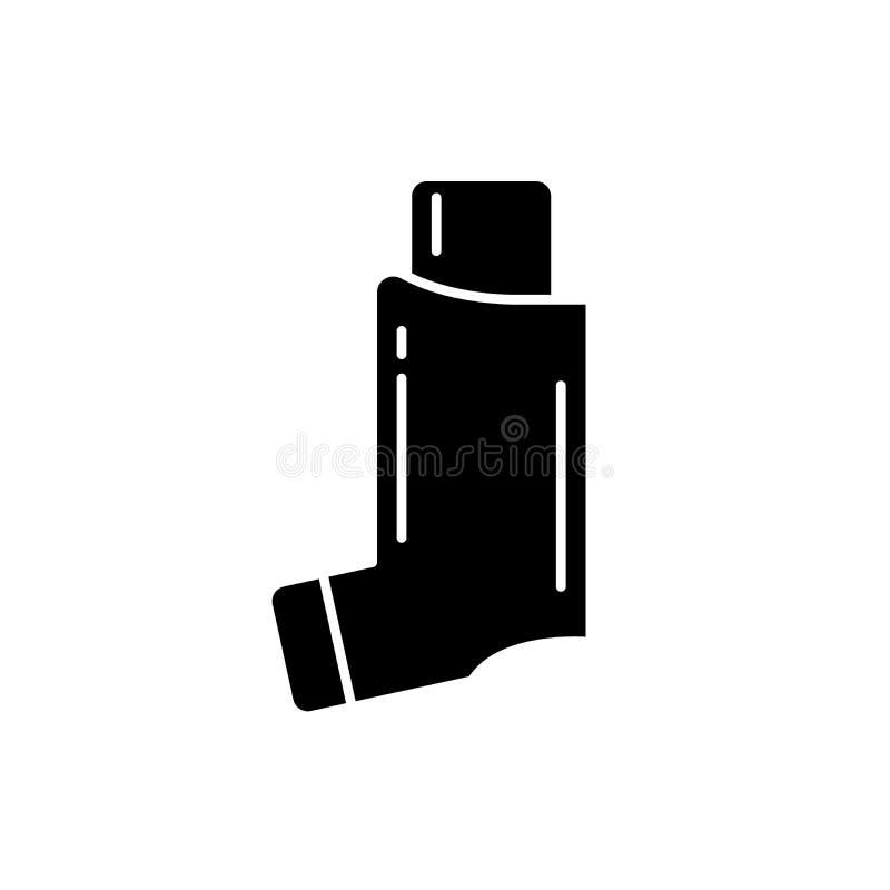 Svart symbol för bronkial astma, vektortecken på isolerad bakgrund Begreppssymbol för bronkial astma, illustration royaltyfri illustrationer