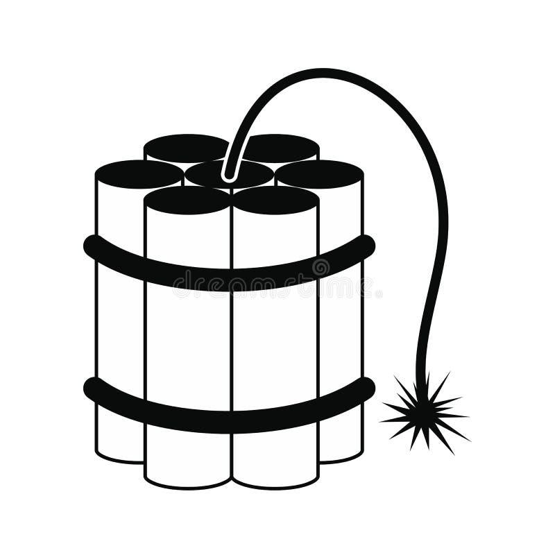 Svart symbol för dynamitpinnar royaltyfri illustrationer