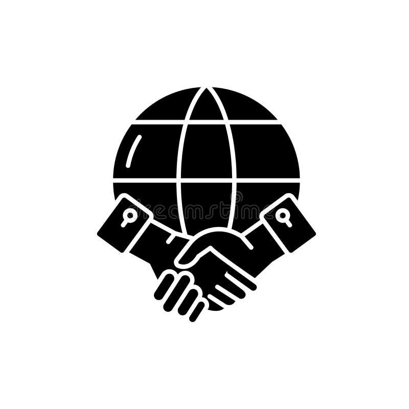 Svart symbol för globalt partnerskap, vektortecken på isolerad bakgrund Globalt partnerskapbegreppssymbol, illustration stock illustrationer