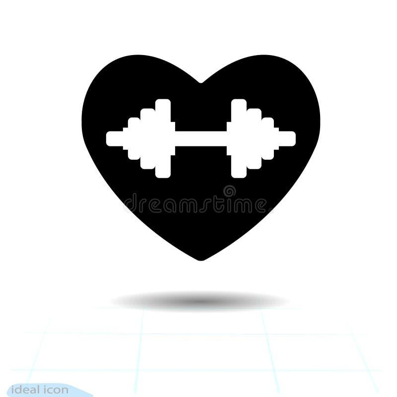 Svart symbol för hjärta, förälskelsesymbol Den härliga hanteln för konturn svävar i hjärta Valentindagtecken, emblem, lägenhetsti royaltyfri fotografi