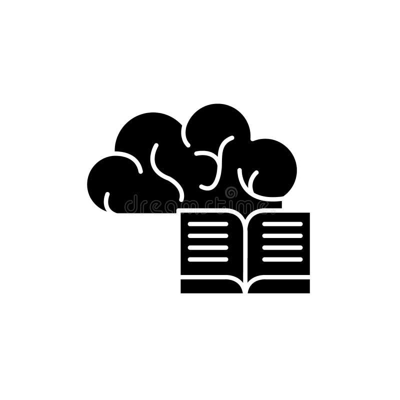 Svart symbol för intellektuell information, vektortecken på isolerad bakgrund Intellektuellt informationsbegreppssymbol royaltyfri illustrationer
