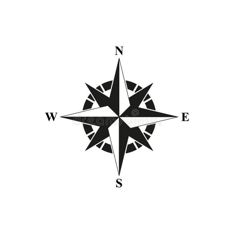 Svart symbol för kompass vektor illustrationer