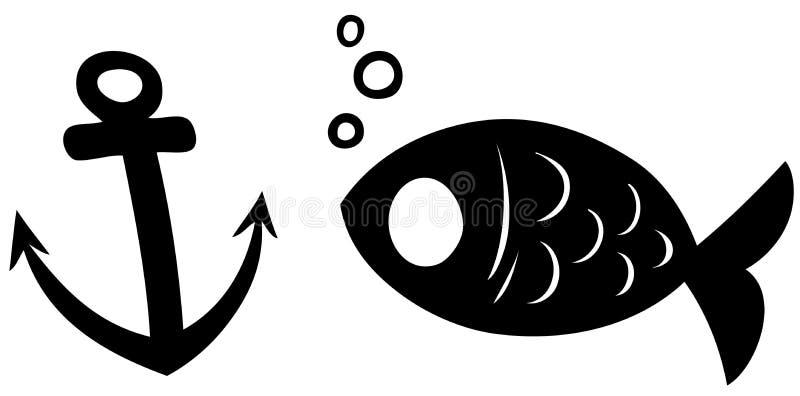 Svart symbol f?r konturfisk- och ankarvektor stock illustrationer