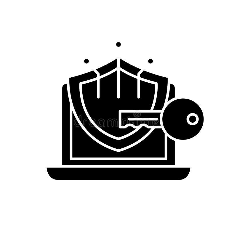 Svart symbol för kryptografi, vektortecken på isolerad bakgrund Kryptografibegreppssymbol, illustration stock illustrationer