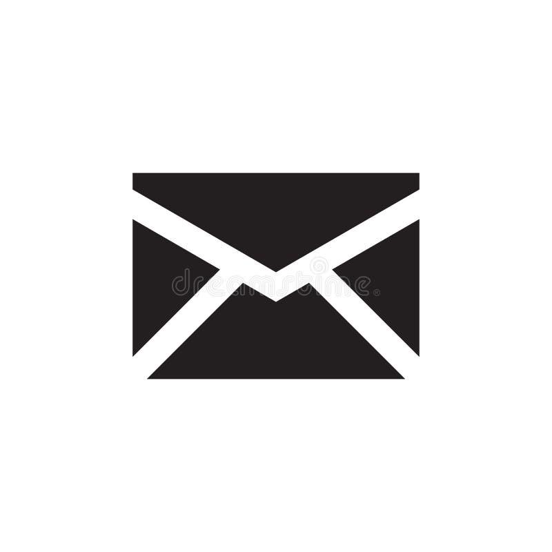 Svart symbol för mejl på den vita bakgrundsvektorillustrationen för websiten, mobil applikation, presentation som är infographic  royaltyfri illustrationer