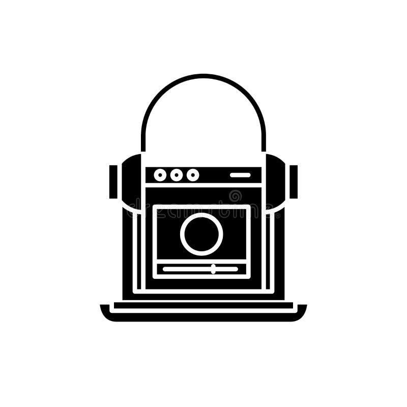 Svart symbol för online-skola, vektortecken på isolerad bakgrund Online-skolabegreppssymbol, illustration vektor illustrationer