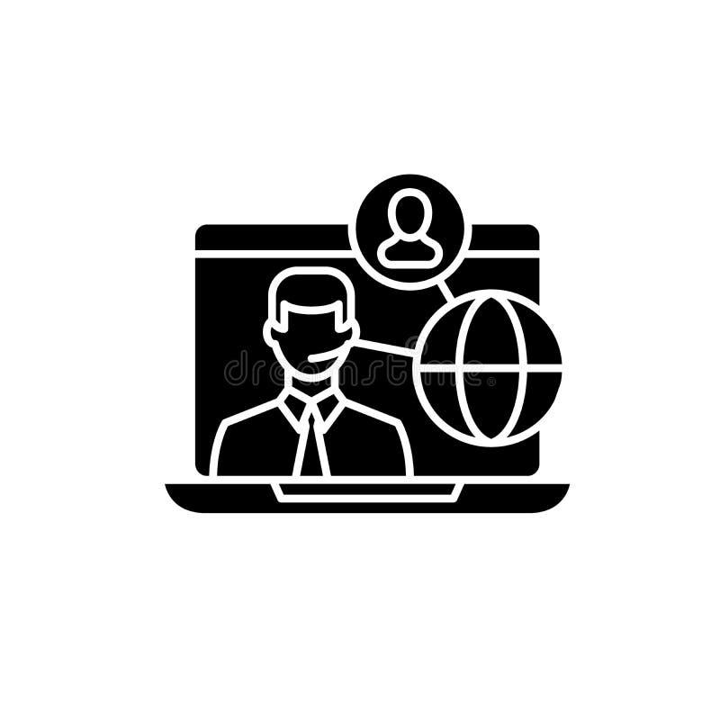 Svart symbol för online-teamwork, vektortecken på isolerad bakgrund Online-teamworkbegreppssymbol, illustration stock illustrationer