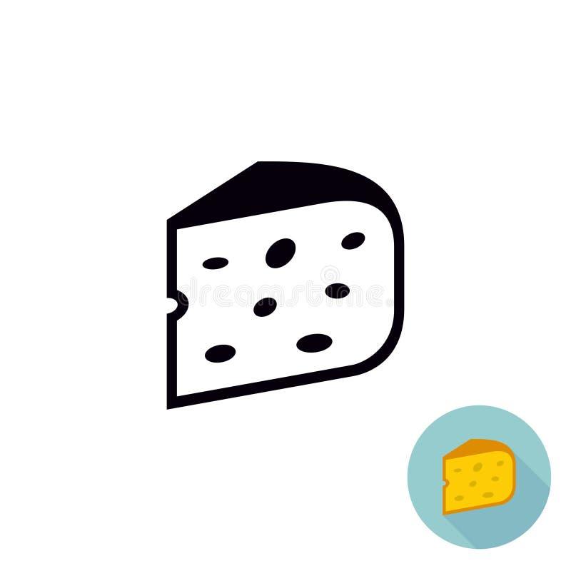 Svart symbol för ost Isolerat stycke av ost royaltyfri illustrationer