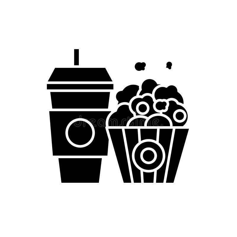 Svart symbol för popcorn och för cola, vektortecken på isolerad bakgrund Popcorn- och colabegreppssymbol, illustration royaltyfri illustrationer