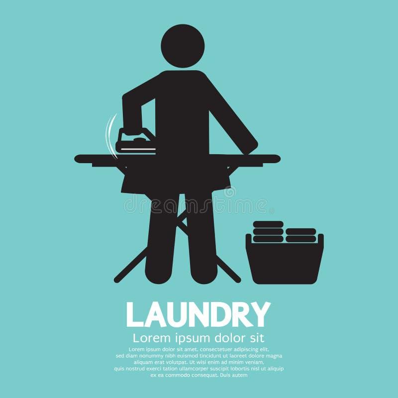 Svart symbol för tvätteri royaltyfri illustrationer