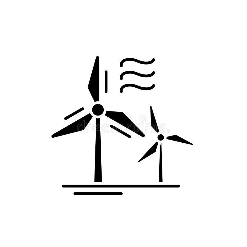 Svart symbol för vindkraft, vektortecken på isolerad bakgrund Vindkraftbegreppssymbol, illustration vektor illustrationer