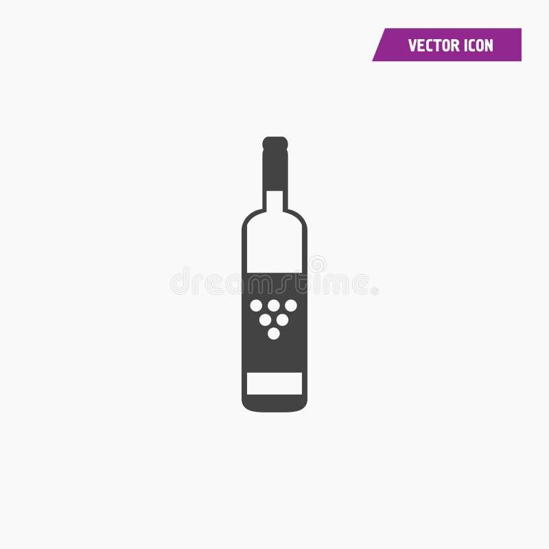 Svart symbol för vinflaska som isoleras på vit vektor illustrationer