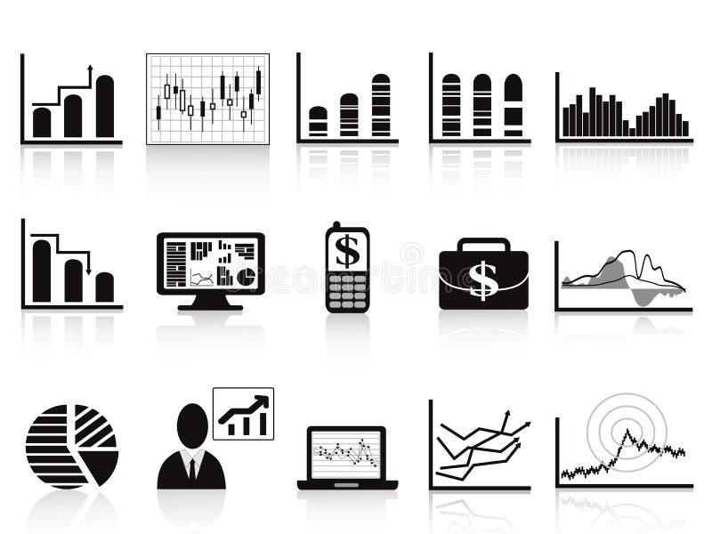 svart symbol för affärsdiagram royaltyfri illustrationer