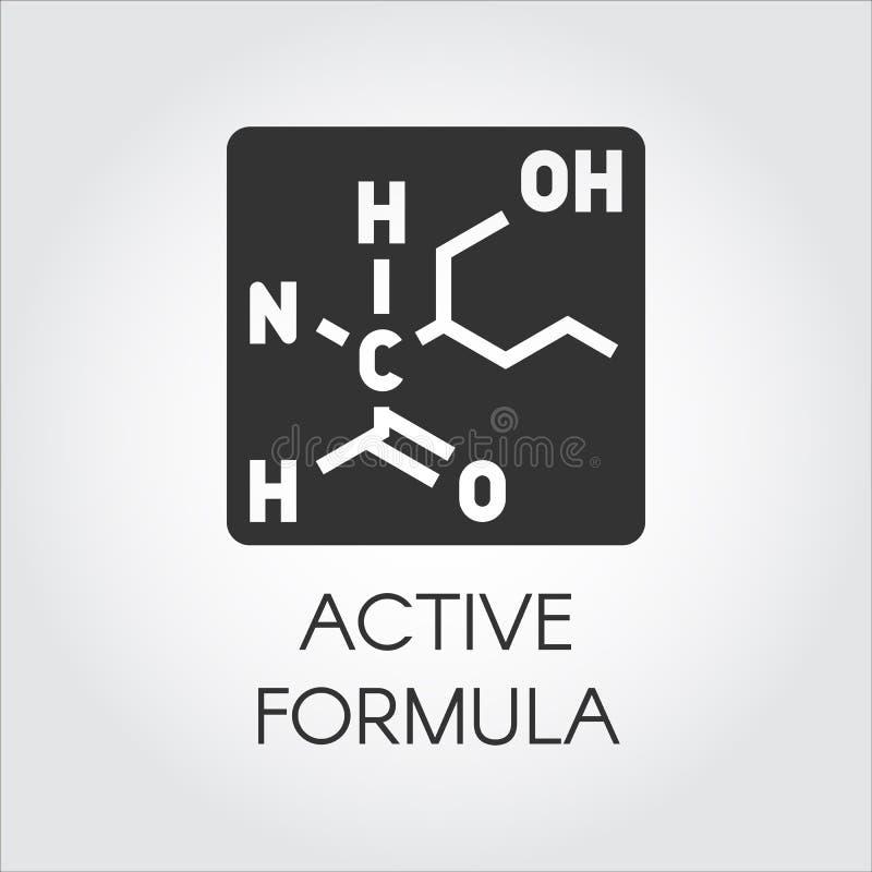 Svart symbol i plan stil av det aktiva formelbegreppet för medicin, fysik, vetenskap, biologi, kemitema vektor royaltyfri illustrationer