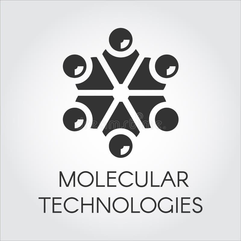 Svart symbol i plan stil av molekylär teknologi Struktur och anslutning av microparticles, framtida produktionbegrepp vektor illustrationer