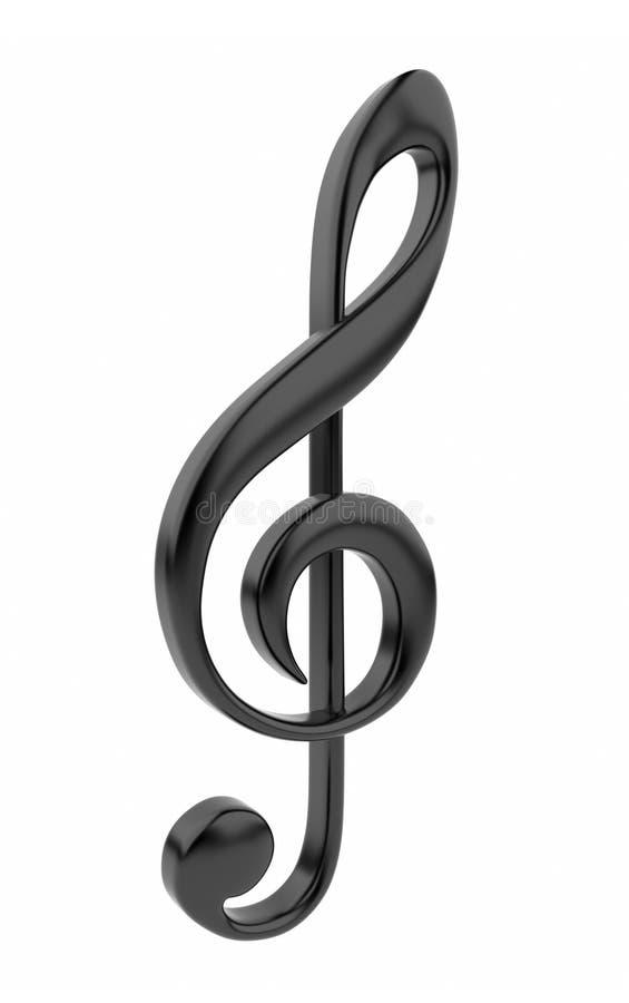 svart symbol isolerad musikalisk anmärkning 3d royaltyfri illustrationer