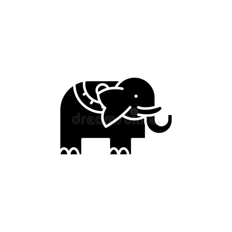 Svart symbolsbegrepp för elefant Plant vektorsymbol för elefant, tecken, illustration vektor illustrationer