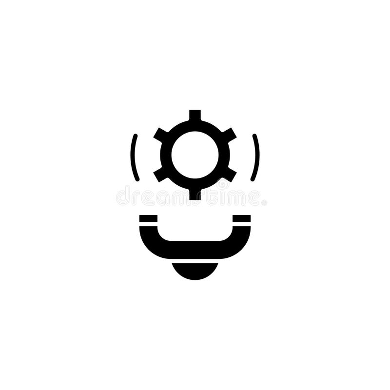 Svart symbolsbegrepp för kundtjänst Symbol för vektor för kundtjänstlägenhet, tecken, illustration royaltyfri illustrationer