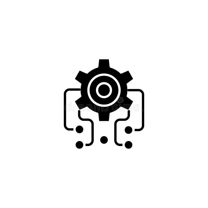 Svart symbolsbegrepp för Microcircuit Plant vektorsymbol för Microcircuit, tecken, illustration stock illustrationer