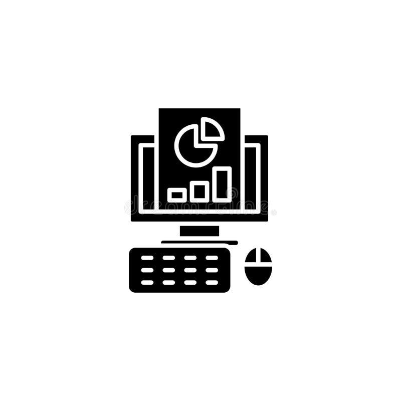 Svart symbolsbegrepp för rapport Plant vektorsymbol för rapport, tecken, illustration royaltyfri illustrationer