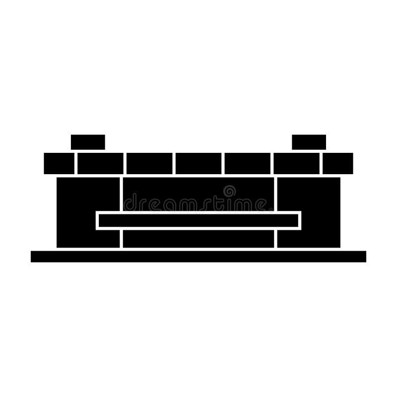 Svart symbolsbegrepp för stadion Stadionvektortecken, symbol, illustration stock illustrationer