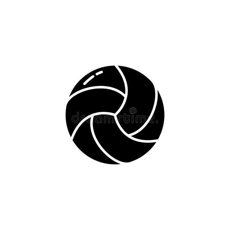 Svart symbolsbegrepp för volleyboll Plant vektorsymbol för volleyboll, tecken, illustration royaltyfri illustrationer