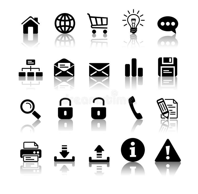 svart symbolsset vektor illustrationer
