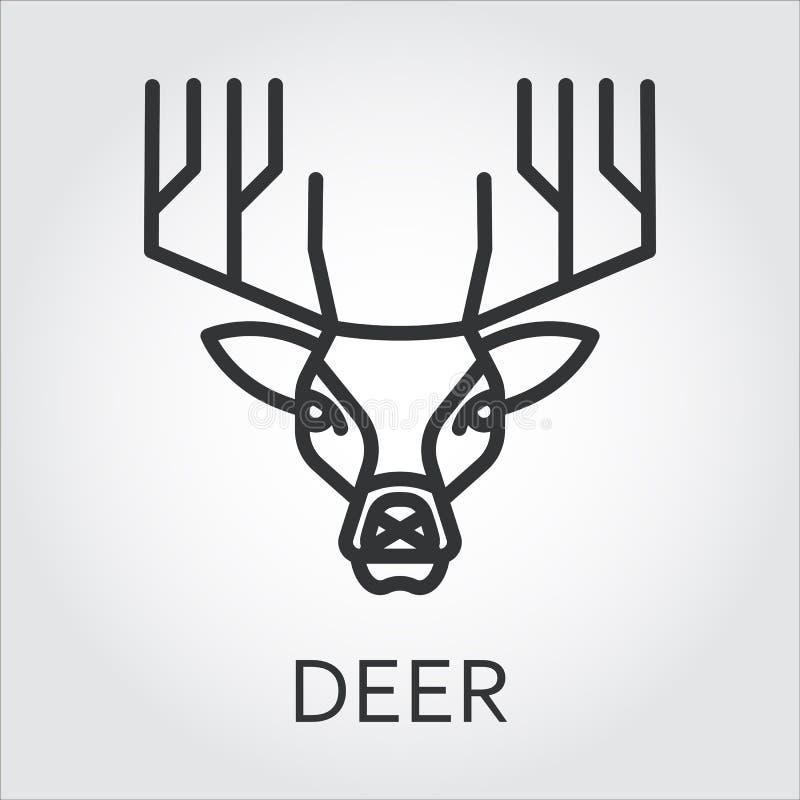Svart symbolsstillinje konst, head hjort för löst djur royaltyfri illustrationer