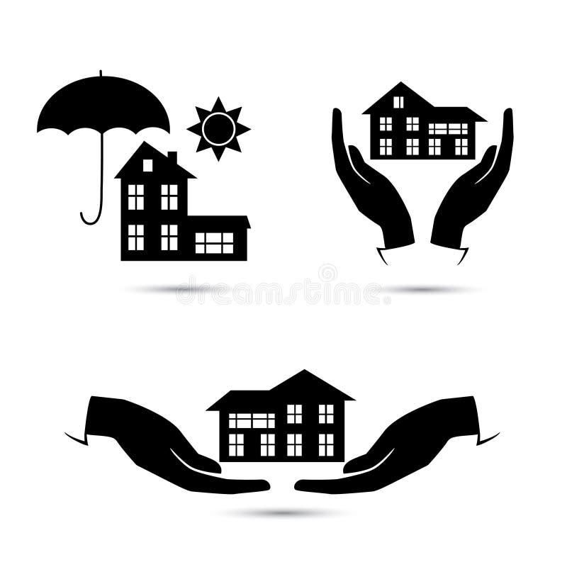 Svart symbolsuppsättning för försäkring stock illustrationer