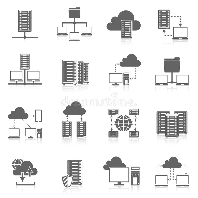 Svart symbolsuppsättning för varande värd service royaltyfri illustrationer