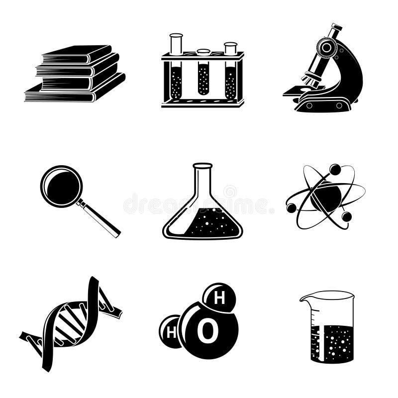 Svart symbolsuppsättning för vetenskap vektor illustrationer
