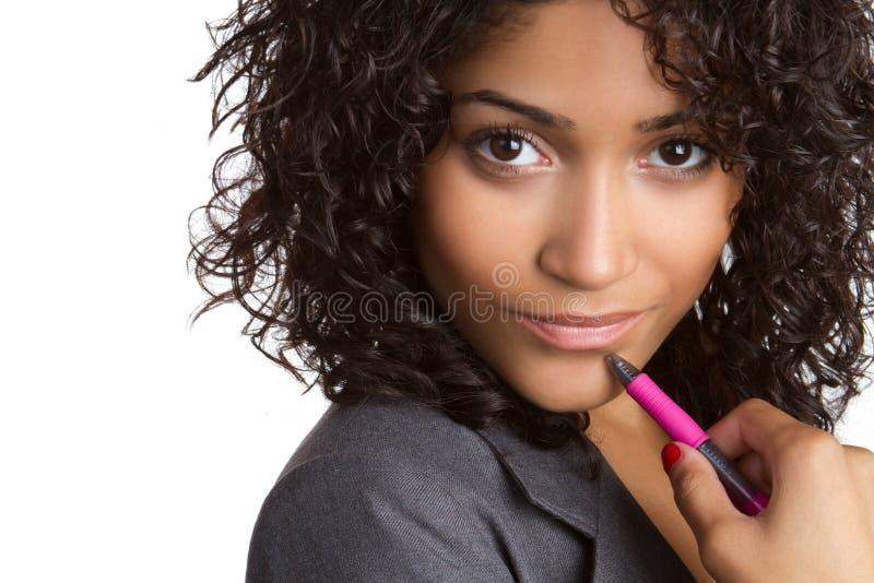 svart tänkande kvinna royaltyfria foton