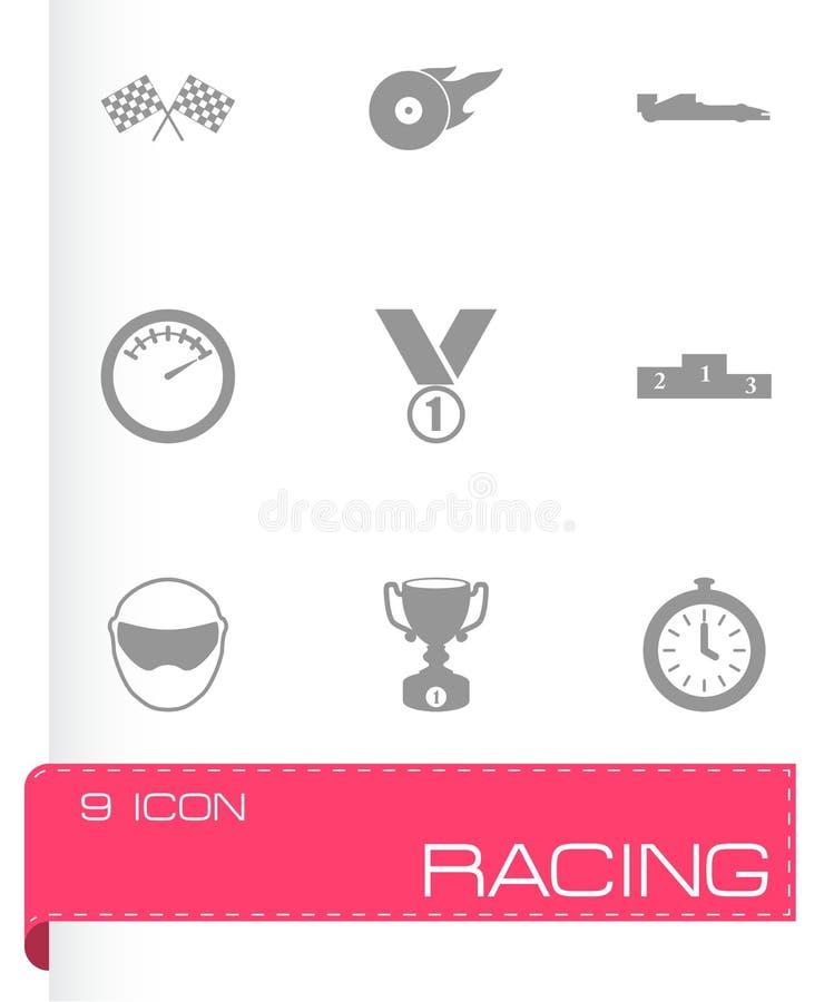Svart tävlings- symbolsuppsättning för vektor royaltyfri illustrationer