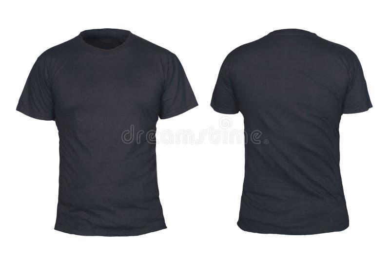 Svart t-skjorta åtlöje upp, framdelen och baksida beskådar, isolerat Vanlig svart skjortamodell Kort mall för muffskjortadesign T arkivbild
