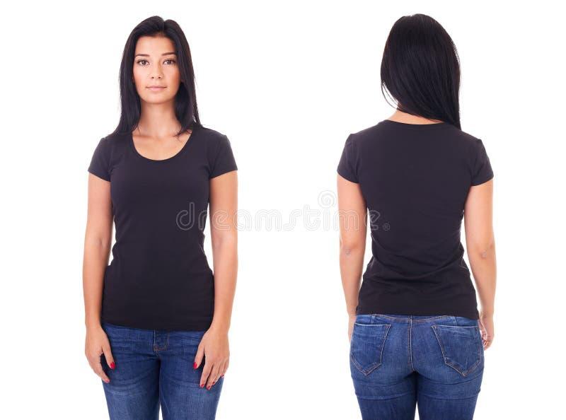 Svart t-skjorta på en mall för ung kvinna royaltyfri fotografi