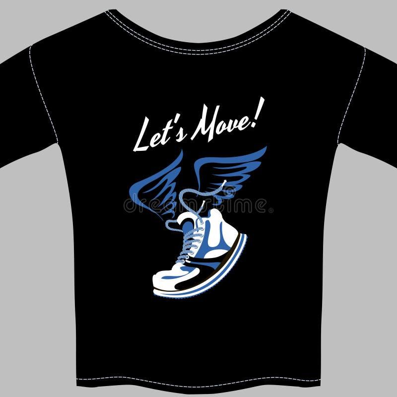 Svart T-tröja som skrivs ut med en bevingad gymnastiksko vektor illustrationer