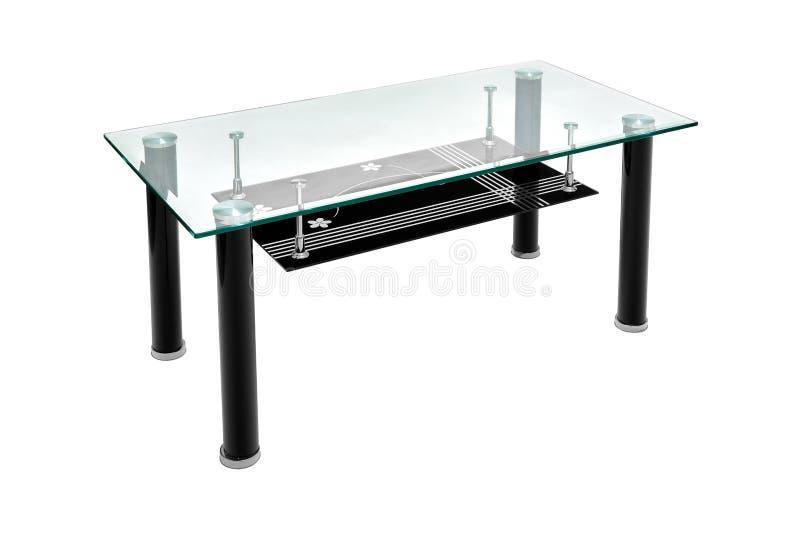 Svart tabell för exponeringsglas- och aluminiumkromkaffe Modern tabell för vardagsrummet med blom- design som isoleras på vit bak arkivbild
