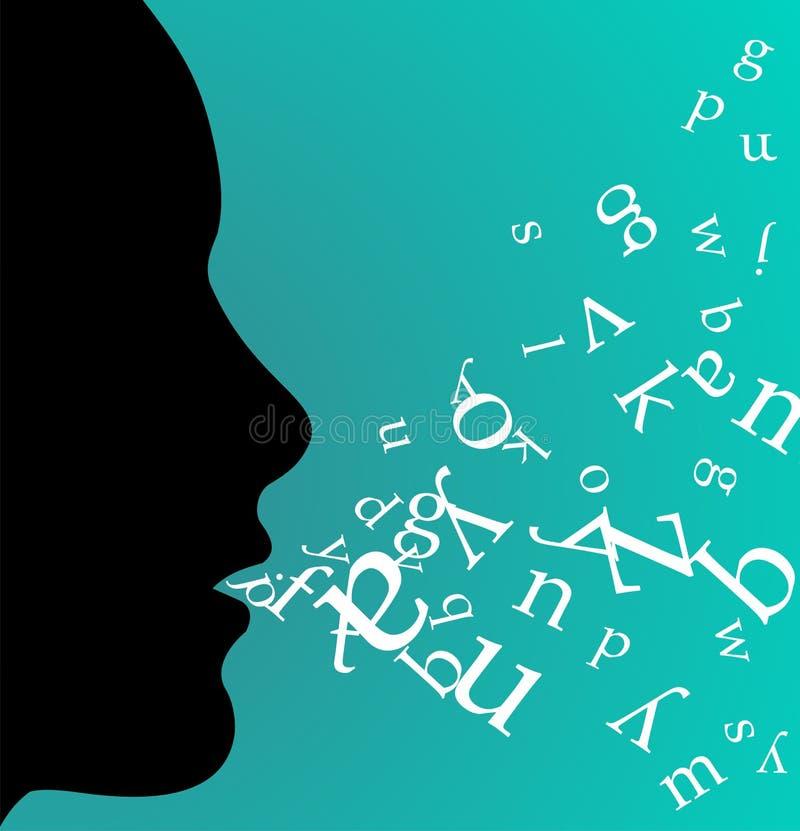 svart tala för kvinnligprofil stock illustrationer