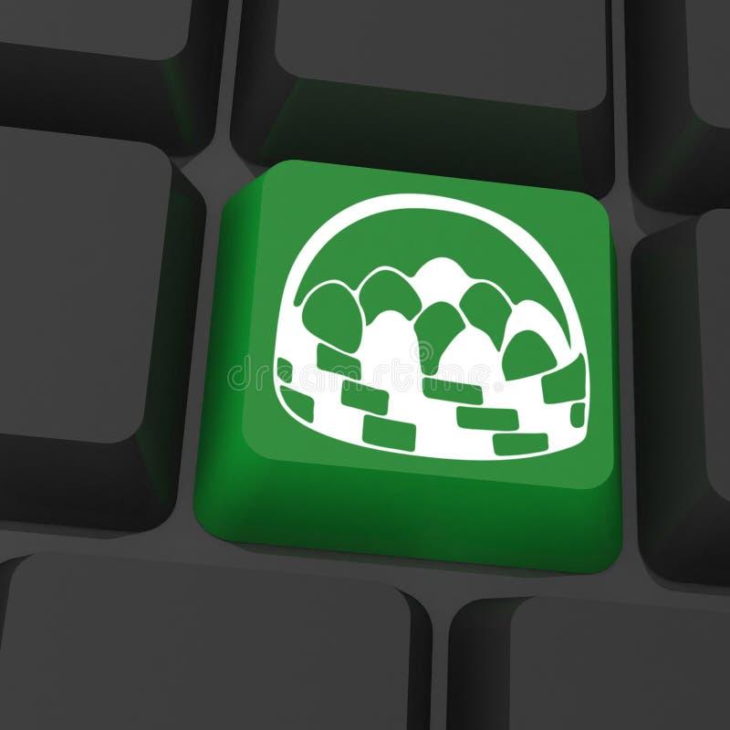 Svart tangentbord med gräsplantangent stock illustrationer