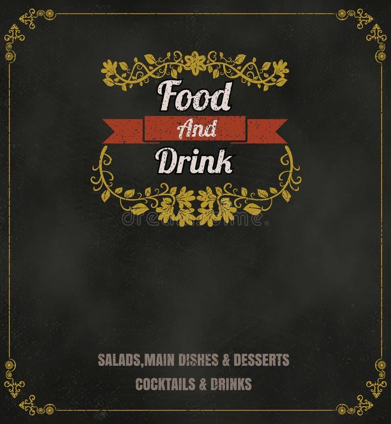 Svart tavla Backg för design för tappning för restaurangmatmeny typografisk royaltyfri illustrationer