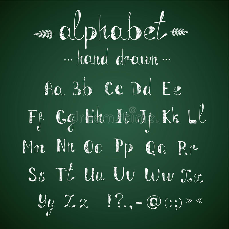 Svart tavla för alfabet och för interpunktion royaltyfri illustrationer