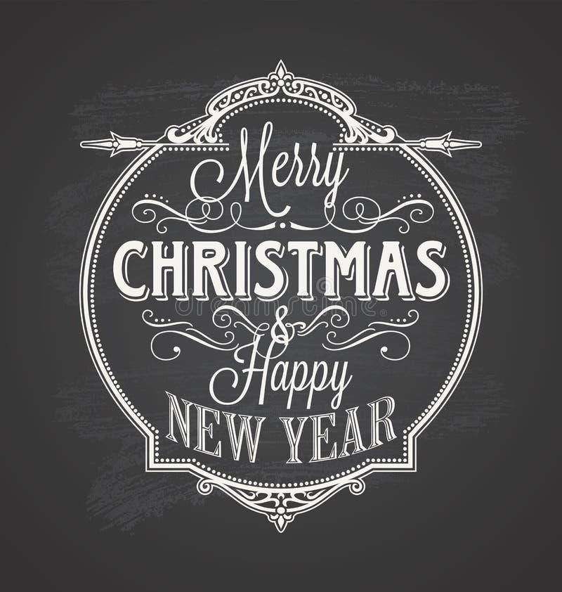 Svart tavla för bakgrund för glad jul vektor illustrationer