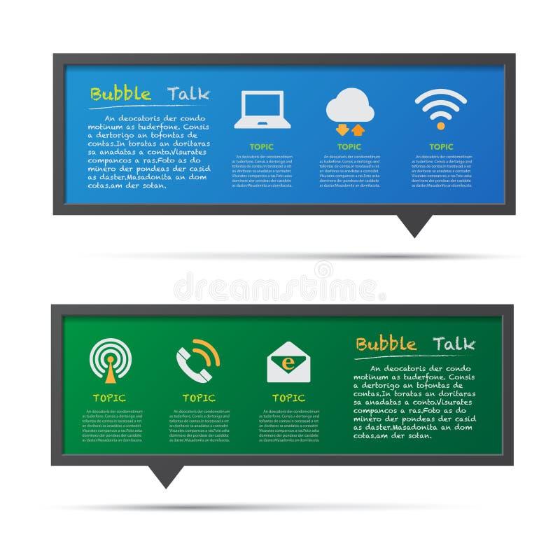 Svart tavla för för nätverkssymbols- och bubbla 3D samtal. vektor illustrationer